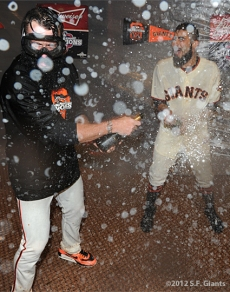San Francisco Giants, S.F. Giants, photo, 2012, NLCS, Brian Wilson and Sergio Romo