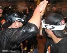 San Francisco Giants, S.F. Giants, photo, 2012, NLCS, Freddy Sanchez and Gregor Blanco