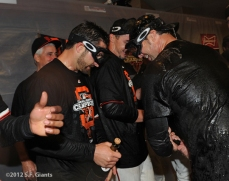 San Francisco Giants, S.F. Giants, photo, 2012, NLCS, Xavier Nady and Ryan Vogelsong