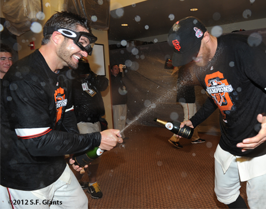 San Francisco Giants, S.F. Giants, photo, 2012, NLCS, Xavier Nady and Hunter Pence