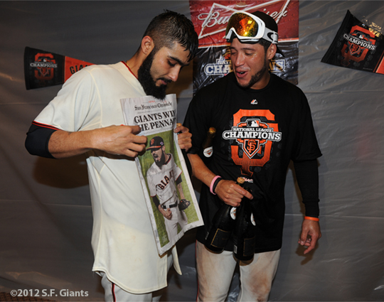 San Francisco Giants, S.F. Giants, photo, 2012, NLCS,, Sergio Romo and Gregor Blanco