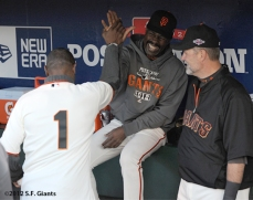 San Francisco Giants, S.F. Giants, photo, 2012, NLCS, Kenny Lofton, Shawon Dunston and Bill Hayes
