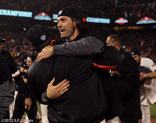 sf giants, san francisco giants, photo, 10/22/2012, nlcs game 7, clinch, barry zito