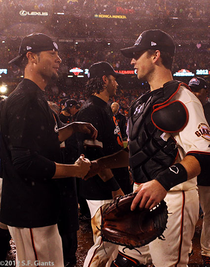 sf giants, san francisco giants, photo, 10/22/2012, nlcs game 7, clinch, ryan vogelsong, buster posey