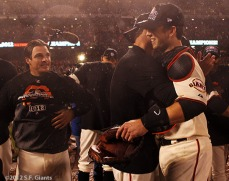 San Francisco Giants, S.F. Giants, photo, 2012, NLCS, Ryan Theriot, Ryan Vogelsong and Buster Posey