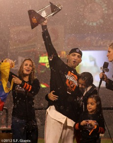 sf giants, san francisco giants, photo, 10/22/2012, nlcs game 7, clinch, marco scutaro, mvp