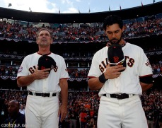 San Francisco Giants, S.F. Giants, photo, World Series, Bruce Bochy and Angel Pagan