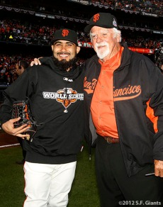 San Francisco Giants, S.F. Giants, photo, World Series, Sergio Romo and Gaylord Perry