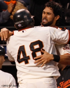 sf giants, san francisco giants, photo, 10/24/2012, world series game 1, pablo sandoval, angel pagan