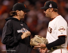 sf giants, san francisco giants, photo, 10/24/2012, world series game 1, barry zito, jeremy affeldt