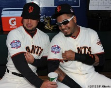 San Francisco Giants, S.F. Giants, photo, 2012, World Series, Taira Uematsu and Hector Sanchez