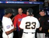 San Francisco Giants, S.F. Giants, photo, 2012, World Series, Hensley Meulans, Robb Nen, Ron Wotus and Will Clark