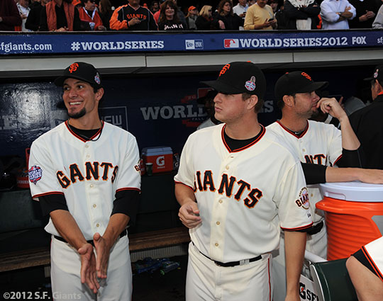 San Francisco Giants, S.F. Giants, photo, 2012, World Series, Javier Lopez, Matt Cain and Ryan Vogelsong