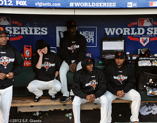 San Francisco Giants, S.F. Giants, photo, 2012, World Series, Santiago Casilla, Tim Lincecum, Shawon Dunston, Joaquin Arias and Jean Machi