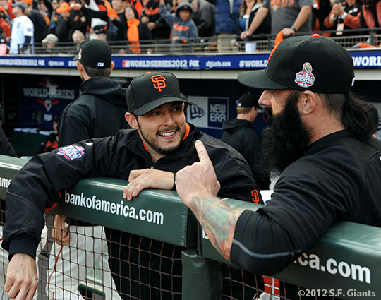 San Francisco Giants, S.F. Giants, photo, 2012, World Series, Clay Hensley and Brian Wilson