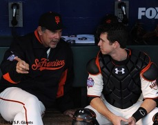 San Francisco Giants, S.F. Giants, photo, 2012, World Series, Bruce Bochy and Buster Posey