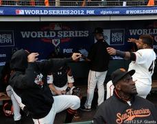 San Francisco Giants, S.F. Giants, photo, 2012, World Series, Sergio Romo and Pablo Sandoval