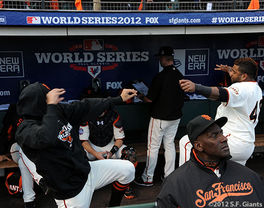 San Francisco Giants, S.F. Giants, photo, 2012, World Series, Sergio Romo and Pablo Sandoval