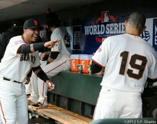 San Francisco Giants, S.F. Giants, photo, 2012, World Series, Hector Sanchez and Marco Scutaro