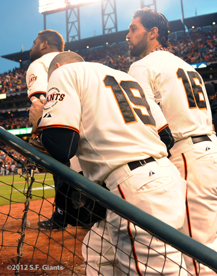 sf giants, san francisco giants, photo, 10/24/2012, world series game 1, pablo sandoval, marco scutaro, angel pagan