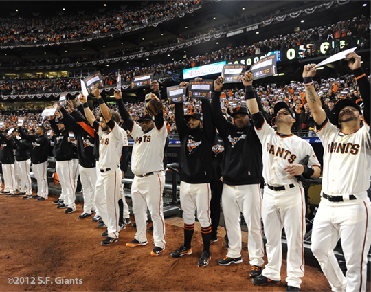 sf giants, san francisco giants, photo, 10/24/2012, world series game 1, team, stand up to cancer