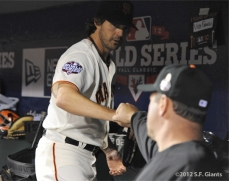 sf giants, san francisco giants, photo, 10/24/2012, world series game 1, barry zito, will clark