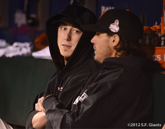 sf giants, san francisco giants, photo, 10/24/2012, world series game 1, tim lincecum, barry zito