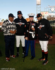 Willie Mays, Barry Zito, Nicholas Kimmel and Sergio Romo