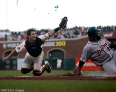 Buster Posey tags out Prince Fielder