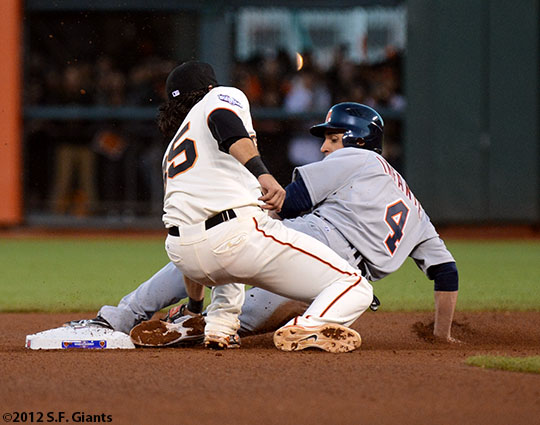 San Francisco Giants, S.F. Giants, photo, 2012, World Series, Brandon Crawford, Omar Infante