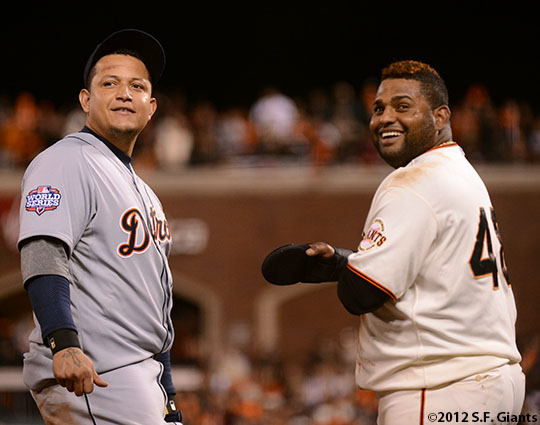 San Francisco Giants, S.F. Giants, photo, 2012, World Series, Miguel Cabrera and Pablo Sandoval