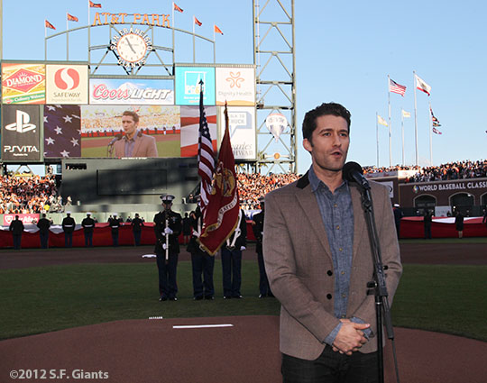 San Francisco Giants, S.F. Giants, photo, 2012, World Series, Matthew Morrison