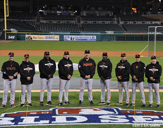 sf giants, photo, 10/26/2012, world series, coache, billy hayes, tim flannery, bambam meulens, dave righetti, bruce bochy, roberto kelly, mark gardner, joe lefebvre, ron wotus