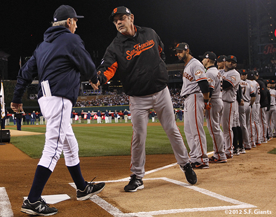 sf giants, photo, 10/27/2012, world series, game 3, jim leyland, bruce bochy, team
