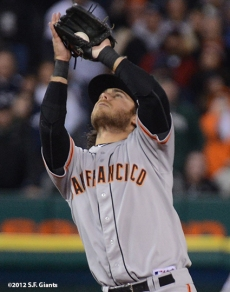 sf giants, photo, 10/27/2012, world series, game 3, brandon crawford