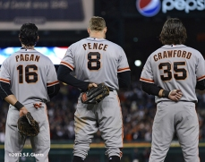 Angel Pagan, Hunter Pence & Brandon Crawford