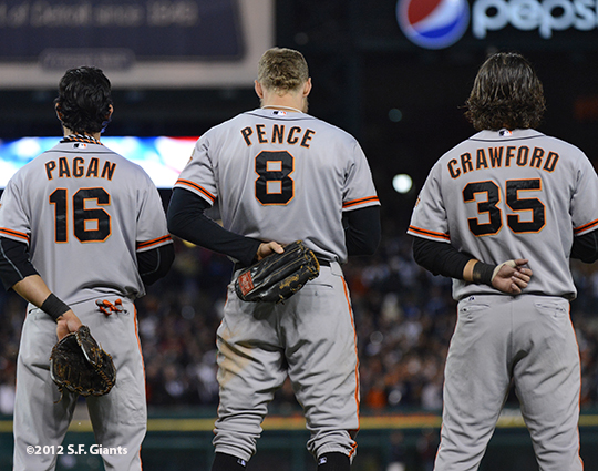 sf giants, photo, 10/27/2012, world series, game 3, angel pagan, hunter pence, brandon crawford