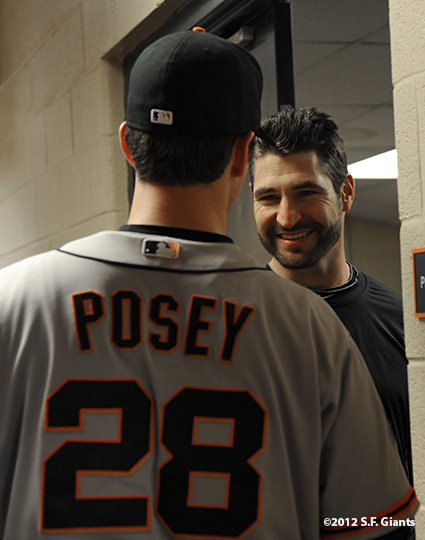 sf giants, photo, 10/27/2012, world series, game 3, buster posey, xavier nady