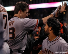 Buster Posey celebrates