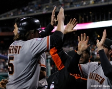 Ryan Theriot celebrates