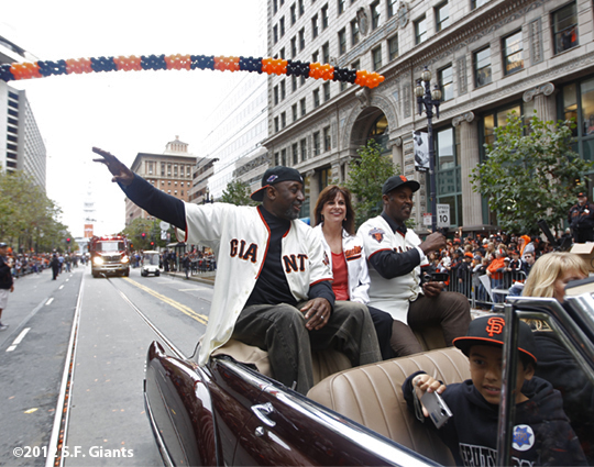 sf giants, san francisco giants, photo, parade, 10/31/2012, jeffrey leonard, terry whitfield