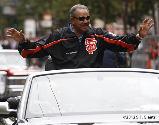 sf giants, san francisco giants, photo, parade, 10/31/2012, hall of fame, juan marichal