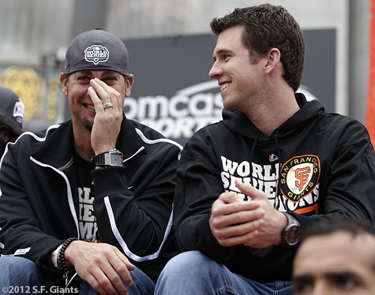 sf giants, san francisco giants, photo, parade, 10/31/2012, Ryan Vogelsong, Buster Posey