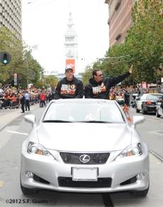 sf giants, san francisco giants, photo, parade, 10/31/2012, dave righetti, mark gardner