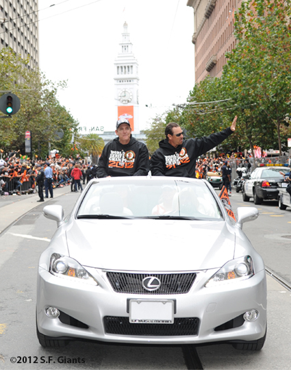 sf giants, san francisco giants, photo, parade, 10/31/2012, dave righetti, mark gardner