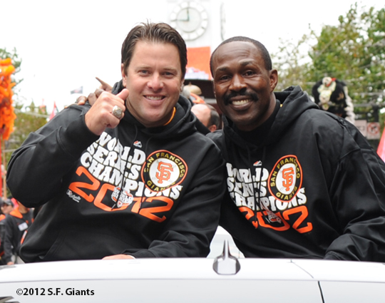 sf giants, san francisco giants, photo, parade, 10/31/2012, jt snow, shawon dunston