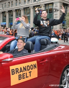 sf giants, san francisco giants, photo, parade, 10/31/2012, brandon belt, jim harbaugh