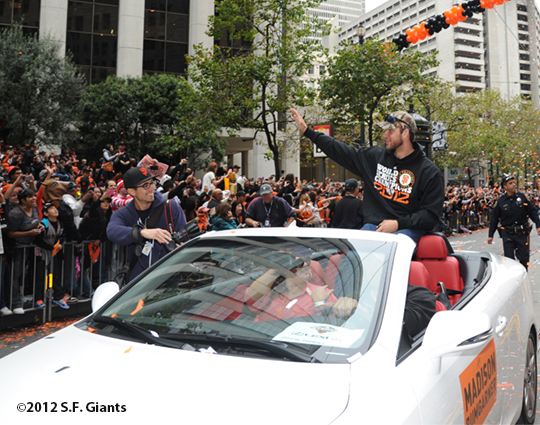 sf giants, san francisco giants, photo, parade, 10/31/2012, madison bumgarner