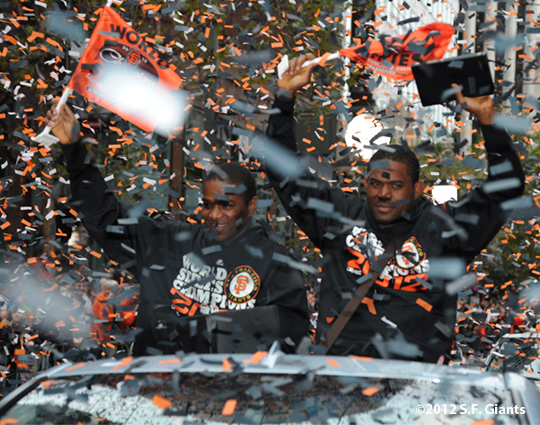 sf giants, san francisco giants, photo, parade, 10/31/2012, santiago casilla