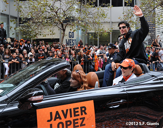 sf giants, san francisco giants, photo, parade, 10/31/2012, javier lopez